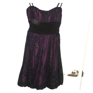 Black and Purple fit and flare prom dress